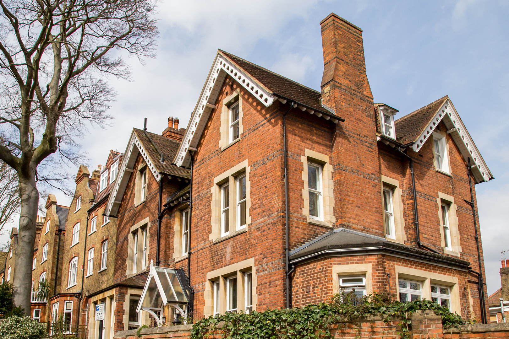 Row of Typical English Houses in Hampstead London